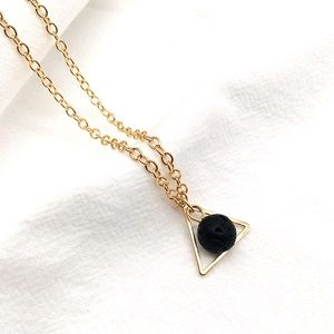 Gold triangle lava stone essential oil necklace